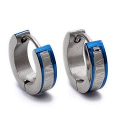 K Mega Jewelry 14X14mm Blue Roman Numorals Blue Stainless Steel Studs Hoop Mens Earrings E277