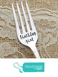 birthday girl: vintage hand stamped fork. floral from Lorelei Vella cake https://www.amazon.com/dp/B01N0AO291/ref=hnd_sw_r_pi_dp_3YuGybRD9HBMJ #handmadeatamazon