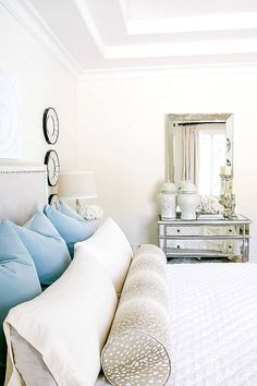 Neutral and blue master bedroom. How to Decorate with Ginger Jars and Where to Find them - Randi Garrett Design