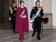 On January 4, 2016, Crown Prince Frederik of Denmark and Crown Princess Mary of Denmark attend a annual New Year's reception held by Queen Margrethe of Denmark for officers from the Military Personel and Danish Emergency management agency at the Christiansborg Palace in Copenhagen, Denmark.