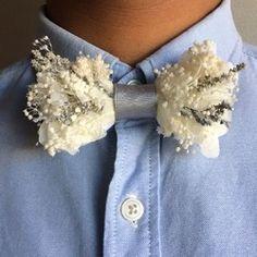 flower bowtie -silver white-