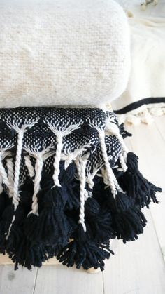 Image of Moroccan POM POM Wool Blanket Ecru - Braided