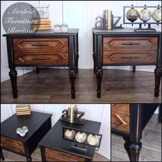Here is another lovely set of nightstands! Painted in Lamp Black Milk Paint and sealed with Flat Out Flat Topcoat by Airdrie Furniture Revival.
