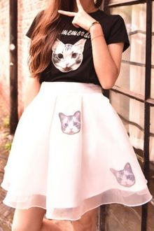 Cat Letter Print Short Sleeve T-Shirt + Skirt / Zaful #streetstyle #cat