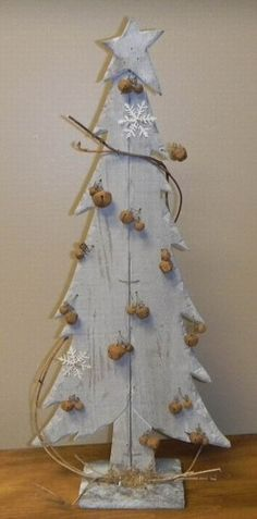 """Primitive Distressed Gray Wooden Christmas Tree with Rusty Bells  20"""" H    #  5782"""