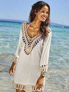 56f519cb0cd2 Crochet Beach Cover up Bathing suit cover ups Beach Wear Swimsuit Cover up  Pareo Cover-up dress Beach cape Saida de Praia