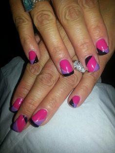 Shellac geometric nail art By, Kim Yee