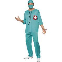 Chirurg kostuum voor volwassenen. Groen chirurg kostuum bestaande uit de broek, het shirt, het hoofdkapje en mondkapje.