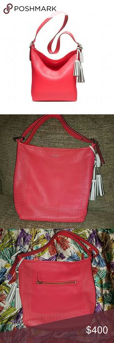 NWOT Coach Legacy Perforated Leather Bag & Scarf NWOT Coach Legacy Perforated Leather Bag in Watermelon Pink (looks like Coral) & Coach Legacy Tassel Scarf. Note: Purse has a few small scuffs from moving a lot. Coach Bags