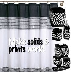 Make solids and prints work! Carry on your safari flare to the bathroom too! #AnnasLinens #AmimalPrint