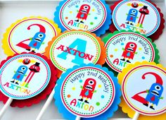 Little Monsters Cupcake Toppers, Little Monsters Birthday Party - Set of 12