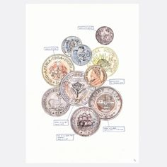 A limited edition, fine art print by Amber Smith on Epson Watercolour poster paper. Coins is an illustration worthy of your personal art collection and comes with a document of authenticity. South African Design, Creative Industries, Art Reference, Amber, Fine Art Prints, Coins, Photoshop, Drawings, Illustration