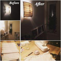 I påvente av avgjørelse om evt ny lampe i trappeoppgangen, så har jeg sydd er trekk til den eksisterende lampen for å få litt forandring ♻️ #resirkuler #lampe #lamp #recycle #diy #doityourself #lagselv #gjørselv #gjørdetselv