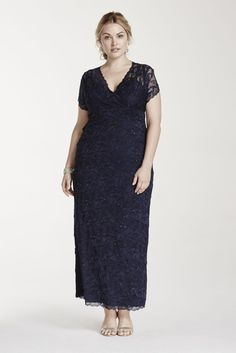 Plus Size All Over Beaded Lace Tiered Mother of Bride/Groom Dress - Navy (Blue), 18W