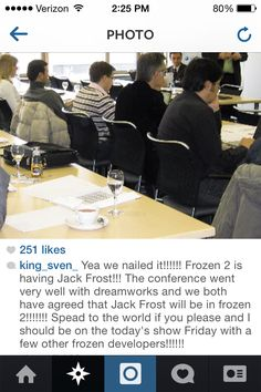 Guys, please stop spreading this lie. While Frozen 2 is a possibility and Jack being in it could  happen, nothing is for sure yet. This account is definitely a fake and not a reliable source. I don't want him or her to get any more attention for lying to adoring fans. Please, I love Jelsa and hope that Dreamworks and Disney will collaborate but this is just some jerk on the internet lying for attention.