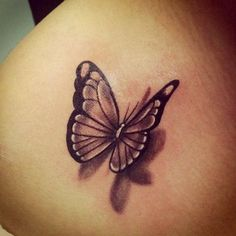 Small Black Butterfly with Shadow Tattoo