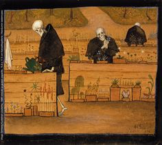 The Garden of Death. The Garden of Death (watercolor and gouache) by Hugo Simberg. Death and the Afterlife by Cliff Pickover Memento Mori, Memes Arte, Classical Art Memes, Gouache, Video Streaming, Danse Macabre, Hirst, Oeuvre D'art, Dark Art