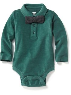 Long-sleeve Polo Shirt & Bow Tie Bodysuits for Baby