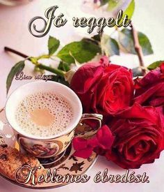 Good morning flowers with coffee - WallpapersClubs. Good Morning Coffee Images, Lovely Good Morning Images, Good Morning Nature, Good Morning Roses, Good Morning Sunshine, Good Morning Greetings, Good Morning Good Night, Coffee Flower, Morning Pictures