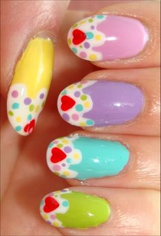Cupcake Nails  Nail tutorial & more photos here: http://www.swatchandlearn.com/nail-art-tutorial-cupcake-nails/