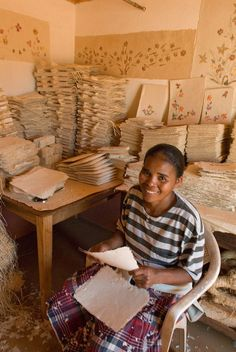 Antemoro paper is still commonly produced in Madagascar in centers such as Ambalavao
