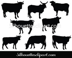Variety of Cow Silhouette Vector for Download - Silhouettesclipart