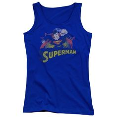 """Checkout our #LicensedGear products FREE SHIPPING + 10% OFF Coupon Code """"Official"""" Jla / Superman Rough Distress - Juniors Tank Top - Jla / Superman Rough Distress - Juniors Tank Top - Price: $29.99. Buy now at https://officiallylicensedgear.com/jla-superman-rough-distress-juniors-tank-top"""