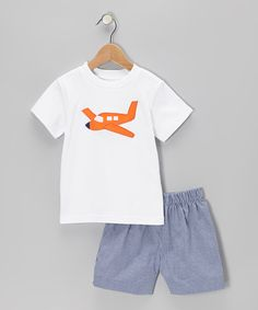 White Airplane Tee & Navy Gingham Shorts - Toddler & Boys by Betti Terrell on #zulily today!