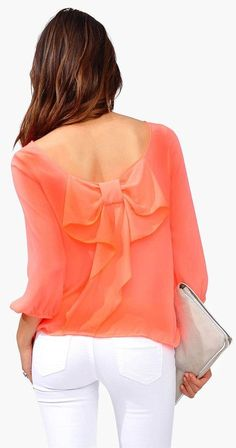 Neon Coral Bow Back Blouse ♥