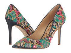 Sam Edelman - Hazel 5 in indigo floral | starting in size 4 | An embroidered pointed toe stiletto with a 3.75 inch heel.