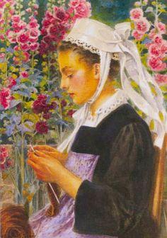 Elisabeth Sonrel - Jeune Faouetaise tricotant