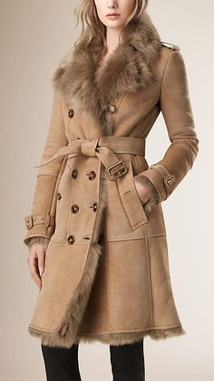Camel Shearling Trench Coat - Burberry