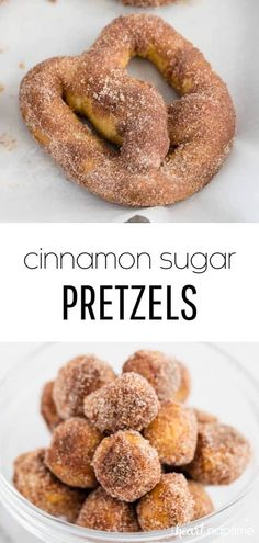 These homemade cinnamon sugar pretzels will become your new favorite treat! They're perfectly soft and chewy, dipped in butter and rolled in cinnamon sugar. Easy No Bake Desserts, Delicious Desserts, Yummy Food, Healthy Desserts, Yummy Recipes, Homemade Soft Pretzels, Pretzels Recipe, Cinnamon Sugar Pretzels, Cinnamon Desserts
