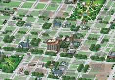 Savannah. Detailed view of the South District. Can you spot the black silhouette of a ghost in the upper right corner of Colonial Park Cemetery? It's the child killer Rene Asche Rodolier.