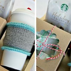 Free tutorial for a hand-knit coffee cozy and a last-minute holiday gift idea #deliciouspairings