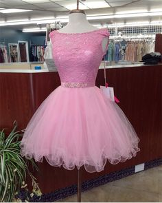 pink homecoming dress,tulle prom short dress,elegant lace appliques cocktail dress