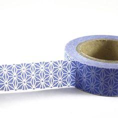 PERIWINKLE / WHITE Geometric Star - Japanese Washi Style Decorative Masking  Tape