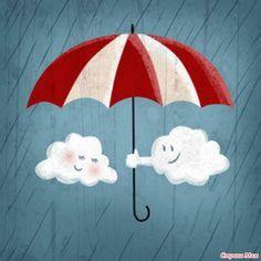 Brushstrokes in the world: Umbrellas in the Rain / Paraguas bajo la lluvia / Umbrella in the Rain Umbrella Art, Under My Umbrella, Illustration Mignonne, Cute Illustration, Art Soleil, Singing In The Rain, Illustrations, Rainy Days, Cute Drawings