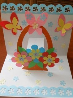This post was discovered by çi Spring Crafts For Kids, Paper Crafts For Kids, Easter Crafts, Diy And Crafts, Paper Flowers Craft, Paper Crafts Origami, Flower Crafts, Paper Cards, Diy Cards