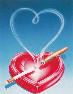 greeting card art illustration with heart ashtray, cigarettes Scott Wilson, Airbrush Art, Retro Art, Vintage Art, Abstract Illustration, Skull Illustration, Web Design, Arte Pop, Retro Aesthetic, Retro Futurism