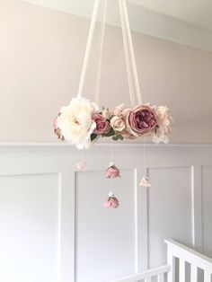 Mauve and Blush Floral Hanging Chandelier / Flower Crib Mobile This large floral chandelier, with its luscious dark hued mauve, blush, cream and white flowers is meant for a truly unique room or event! A lovely statement piece, this flower mobile inspires a vintage-like feel with its cork interior color and lacy floral accents. Item pictured is the EXACT item available and will NOT be re-created once sold, so this is a truly one-of-a-kind chandelier! Including flowers, the floral…