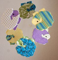 Baby Crib Mobile  Sheep Mobile  White Yellow Teal by GraceAndJane, $57.50
