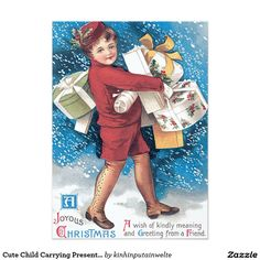 Cute Child Carrying Presents Holly Snow 5x7 Paper Invitation Card