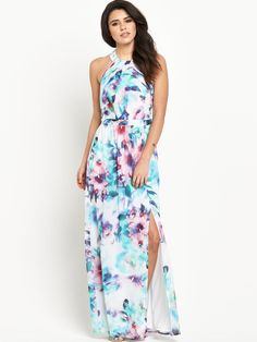 Blue Dreamy florals are the order of the season and this maxi dress by Lipsy is blossoming with them! Ideal for dress-up dates, it's cut to a floor-sweeping length with a leg-revealing side split. Its halter neck design reveals an unexpected show of skin to the back for and glamorous finish. Pair with skyscraper heels to elongate your silhouette, adding glowing makeup for a bronzed, summery style.