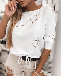 Deep V Dress, Clothing Haul, Fashion Fail, Casual Outfits, Fashion Outfits, Tops For Leggings, Heart Print, Casual Tops, Sweatshirts