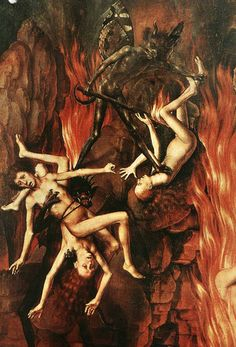 Hans Memling Last Judgment Triptych (detail) 1467-71. The picture shows a detail of the Right Wing representing Hell.