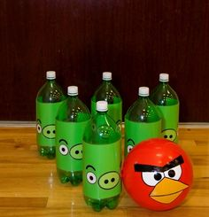 Angry Birds birthday bowling www.spaceshipsandlaserbeams.com