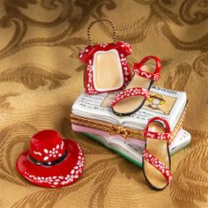 Limoges Red Shoes, Hat and Bag on Book Box The Cottage Shop - $185.00