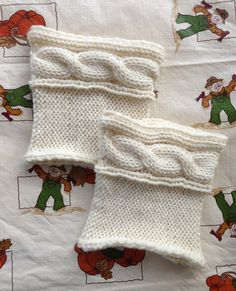 100 Wool Lace Cable Boot Cuffs  READY TO SHIP  Aron by Knitfunmom