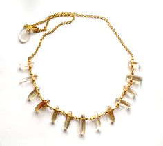 Necklace with gold stone beads.